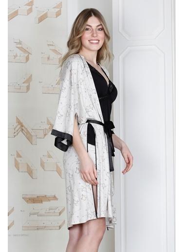Hays Rebel Kadın Kuzu Desenli Sabahlıklı Şortlu Viscon Pijama Takımı Siyah